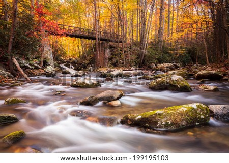 Colorful autumn colors with mountains stream and a bridge in the background - stock photo