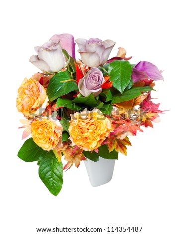 colorful autumn flower bouquet arrangement centerpiece in vase isolated on white background - stock photo