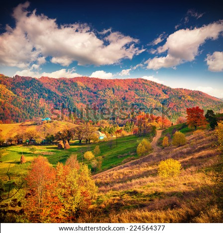 Colorful autumn landscape in the mountain village. - stock photo