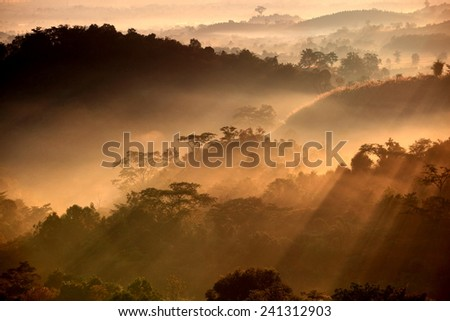 Colorful autumn landscape in the mountain village. Foggy morning and sunlight beautiful time  - stock photo