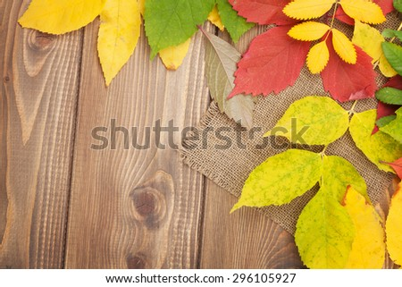 Colorful autumn leaves over wood background with copy space - stock photo