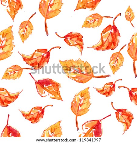 colorful autumn leaves pattern - stock photo