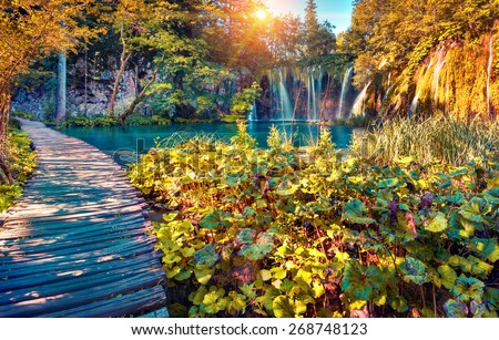 Colorful autumn sunrise in the Plitvice Lakes National Park. Croatia. Europe. Lomography stylization and instagram toning effect. - stock photo