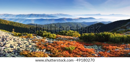Colorful autumn view of landscape mountains - stock photo