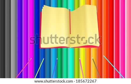 Colorful background from pencils put in a row colorful - stock photo