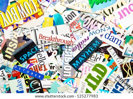 Colorful Background Made of Words Clipped from Magazines - stock photo