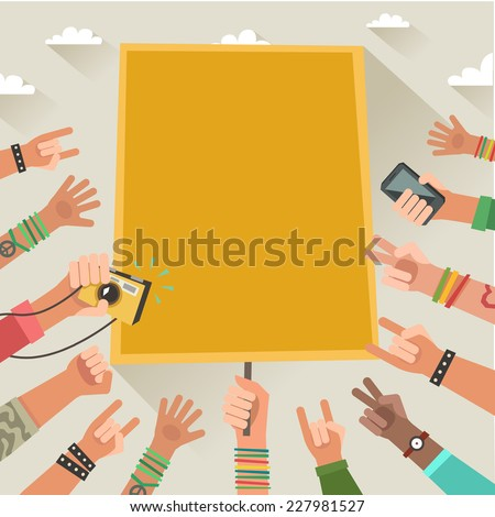 Colorful background with a lot of hands of young people and place for a text  - stock photo