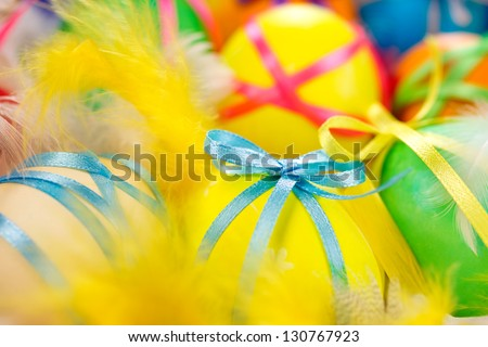 Colorful background with easter painted eggs in - stock photo