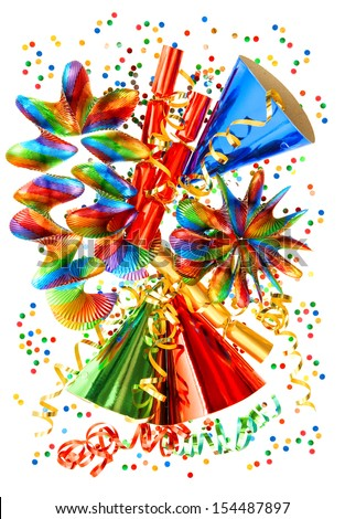 colorful background with garlands, streamer, cracker, party hats and confetti. festive carnival, new year or birthday decoration - stock photo