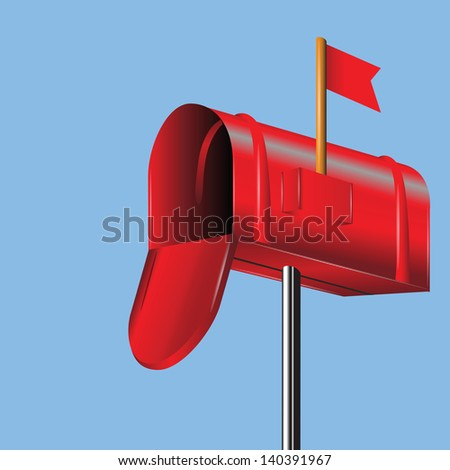 colorful background with red mailbox for your design - stock photo