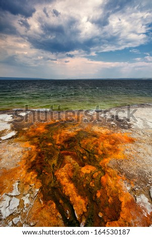 Colorful bacteria mats form in hot water runoff, Yellowstone Lake, West Thumb Geyser Basin, Yellowstone National Park, Wyoming - stock photo