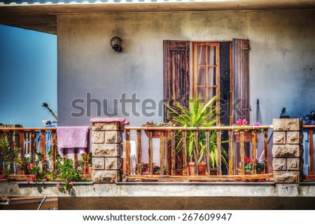 colorful balcony in hdr tone mapping effect - stock photo