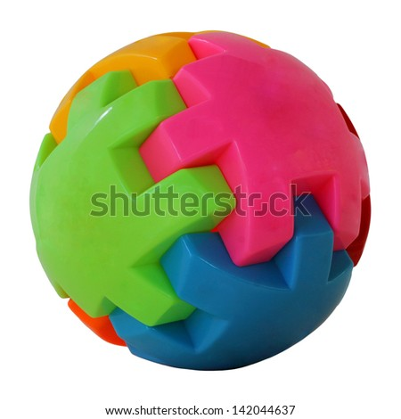 colorful ball, isolated on white background - stock photo