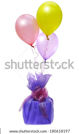 colorful balloons and gift - stock photo