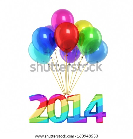 Colorful balloons and New Year 2014 render (isolated on white and clipping path) - stock photo