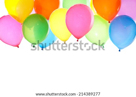 colorful balloons background with white space for text - stock photo
