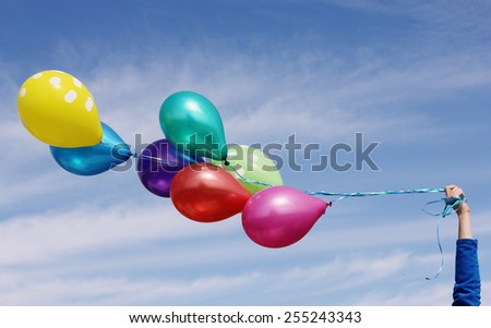 colorful balloons on the background of blue sky - stock photo