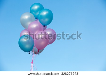 Colorful balloons with blue sky multicolored balloons  - stock photo