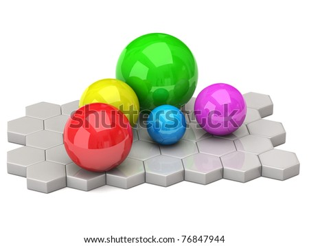 Colorful balls isolated on white background - stock photo