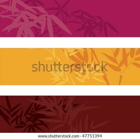 Colorful bamboo banners with space for text - stock photo