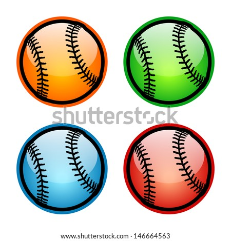 Colorful Baseball Icons. Raster version, vector also available. - stock photo