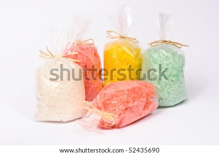 Colorful bath salt present bags - stock photo