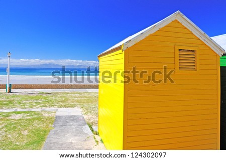 Colorful bathing cabins on the beach of Fish Hoek, Cape Town, South Africa - stock photo