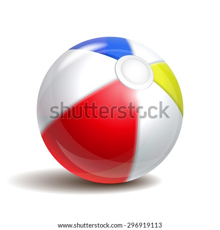 Colorful beach ball isolated on a white background. Symbol of summer fun at the pool or seaside.  - stock photo