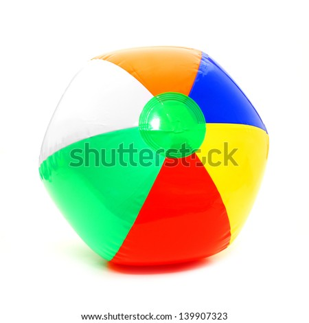 Colorful beach ball isolated on white - stock photo