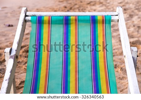Colorful Beach chair close up - stock photo