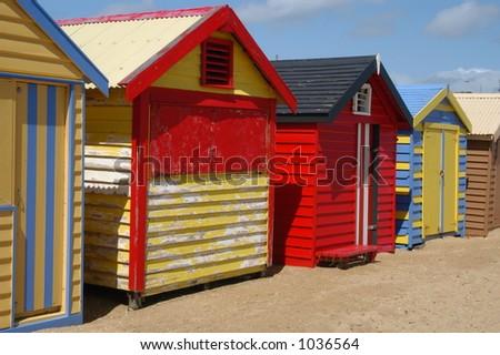Colorful Beach Houses on Brighton Beach - Melbourne, Australia - stock photo