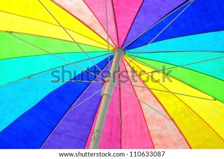 colorful beach umbrella useful as a background pattern - stock photo