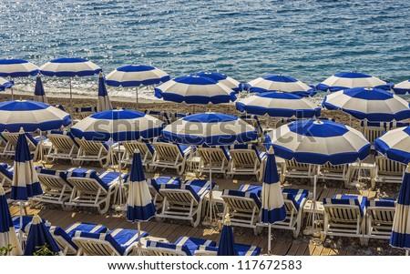 Colorful beach umbrellas - stock photo