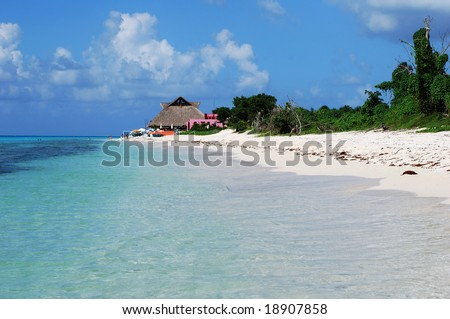 Colorful beaches on Cozumel island, Mexico. - stock photo