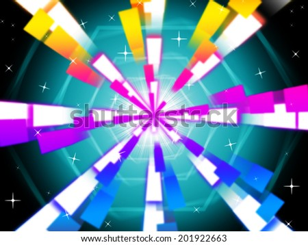 Colorful Beams Background Showing Hexagons And Night Sky  - stock photo