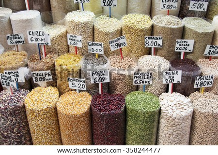 Colorful beans sold in the market - stock photo