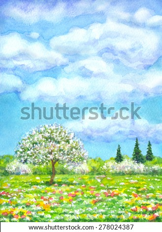 "Colorful beautiful bright watercolour on paper backdrop with space for text. Series ""Different seasons"". White cumulus in blue heaven over valley with lush tree, wildflowers and firs on horizon forest - stock photo"