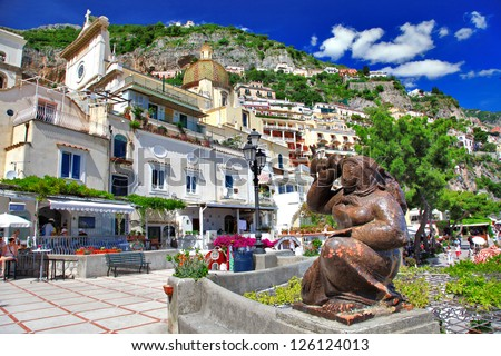 colorful beautiful Positano, Italy - stock photo