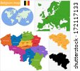 Colorful Belgium map with provinces and main cities - stock photo