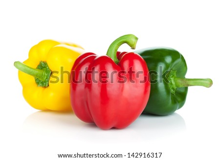 Colorful bell peppers. Isolated on white background - stock photo