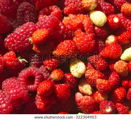 colorful berry mix  Background with  raspberry and strawberry - stock photo