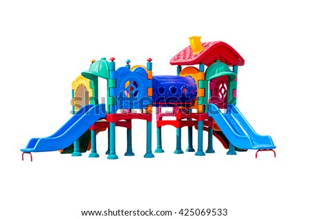 colorful big plastic toy set for children school or park playground, isolated on white. - stock photo