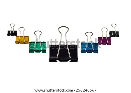 Colorful binder clip isolated on white background - stock photo