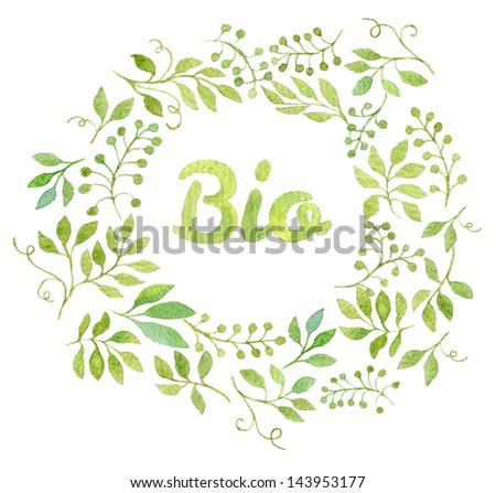Colorful BIO text in watercolor leaves frame - stock photo