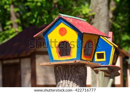 Colorful birdhouses in the park of Vinnytsia, Ukraine - stock photo