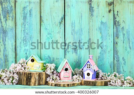 Colorful birdhouses on cedar logs by spring tree blossoms and antique rustic mint green wood background; pink, yellow, purple, green birdhouses  - stock photo