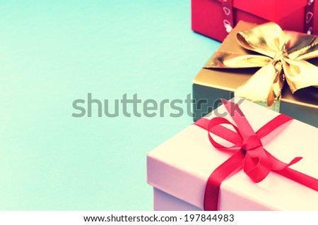 Colorful birthday gift boxes with copyspace  - stock photo