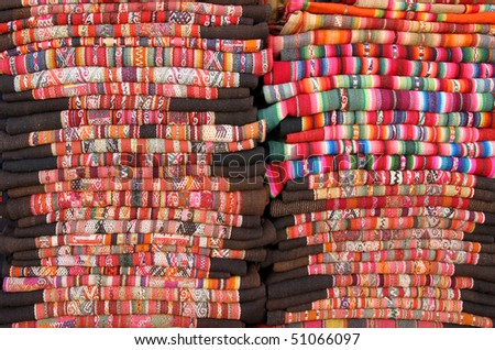 colorful blankets from Bolivia - stock photo