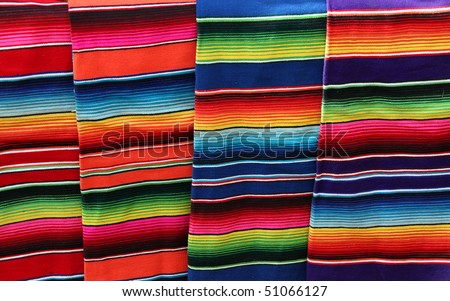 colorful blankets from Mexico - stock photo