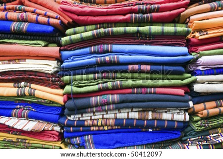 Colorful Blankets - market in Guatemala City - stock photo